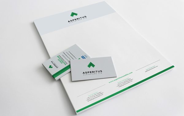 Asperitus logo and corporate stationery