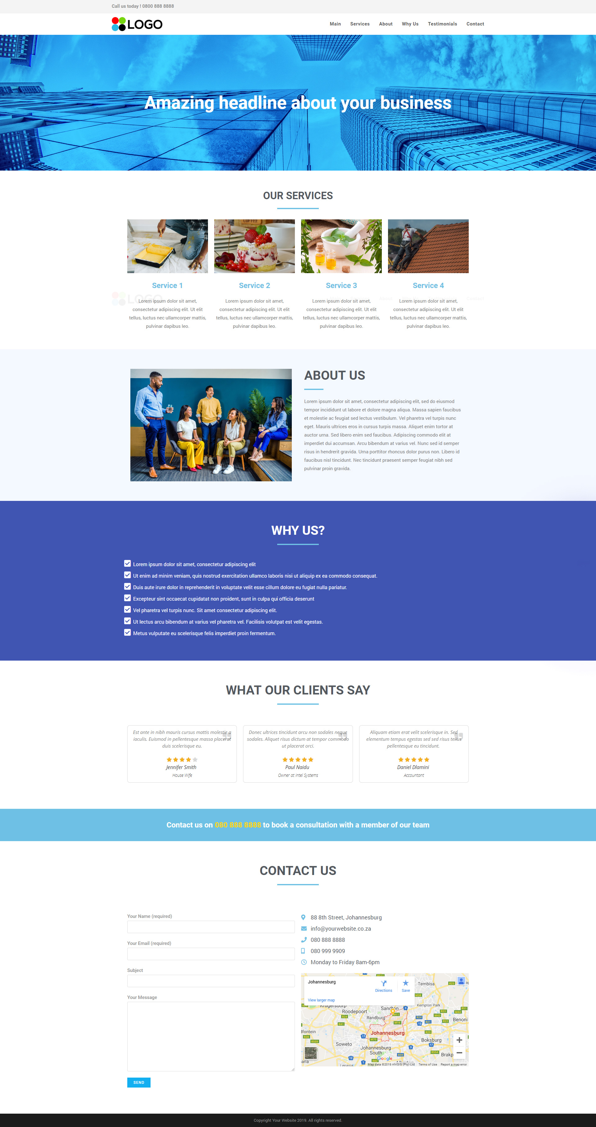 One Page Website example