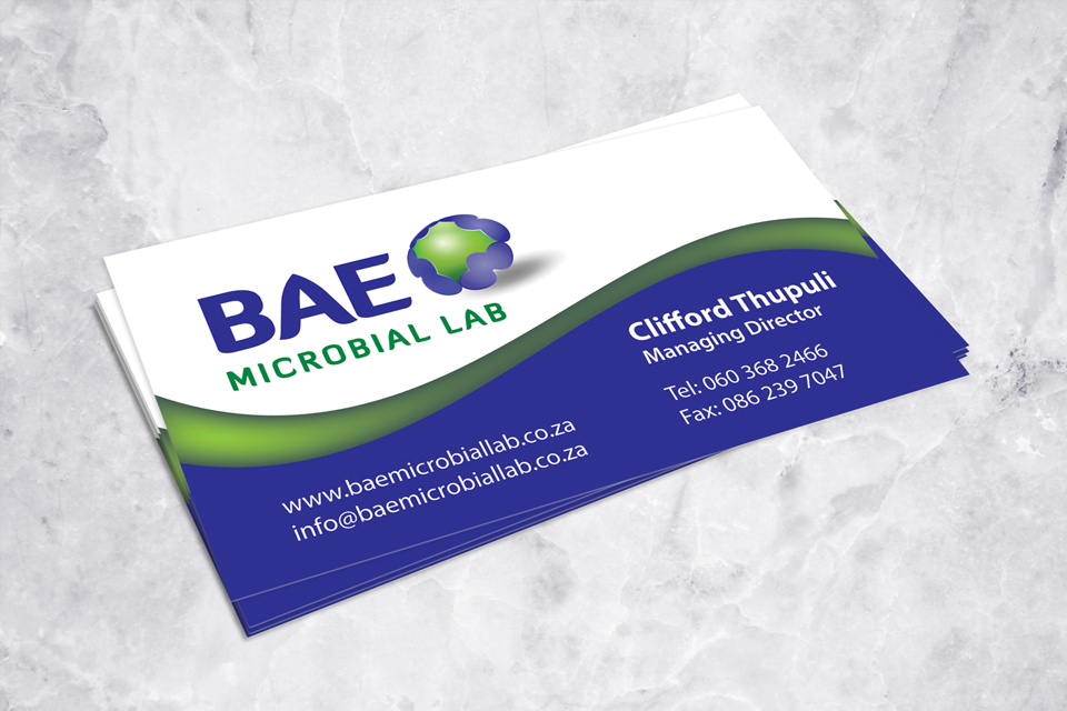 BAE logo and business card